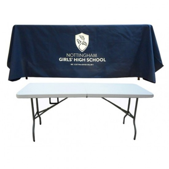 Printed Tablecloth and Trestle Table